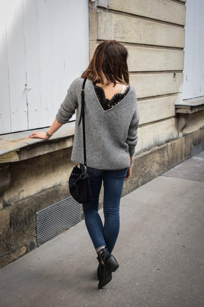 photo vue de dos du pull gris Vero Moda avec dentelle dans le dos