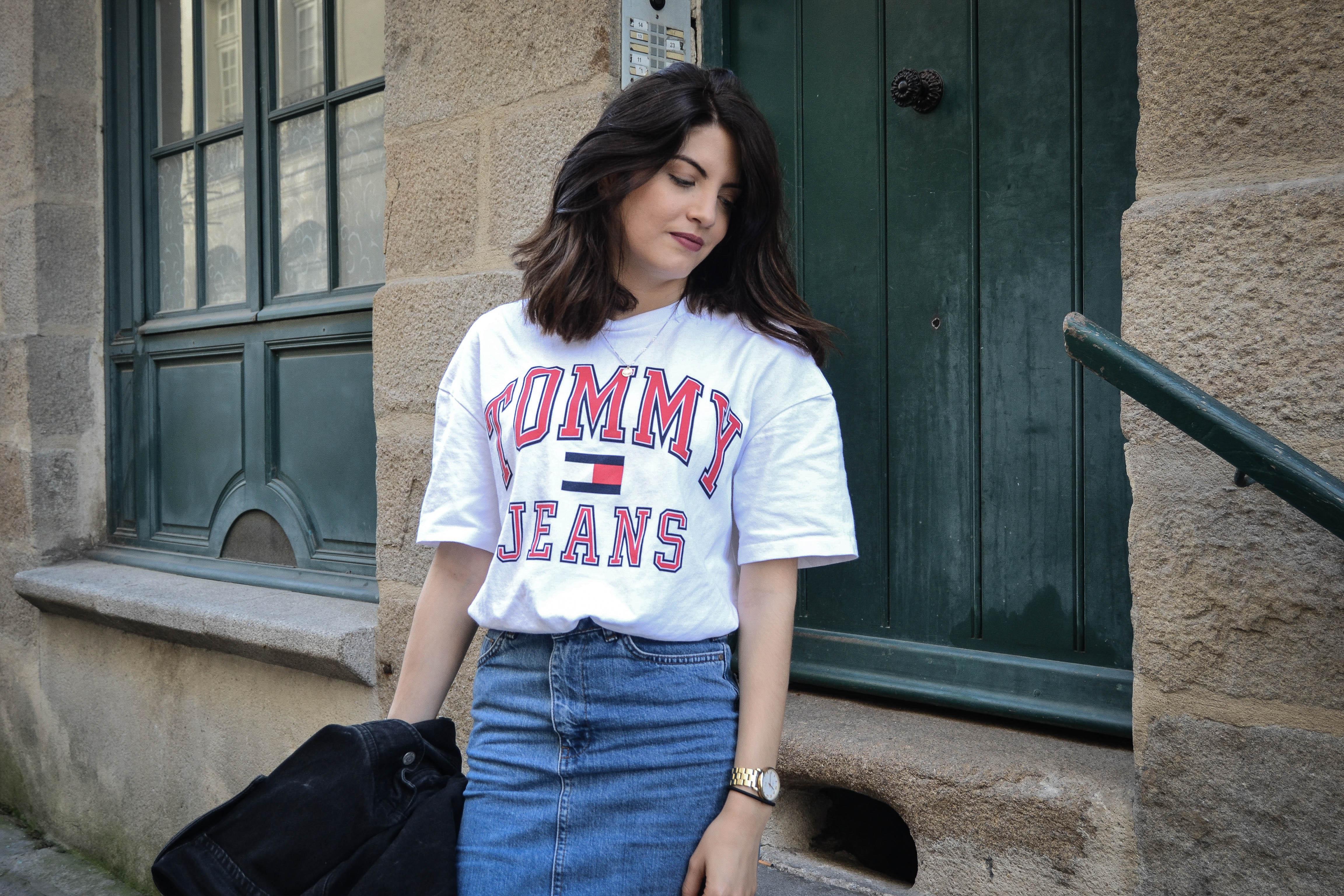 jupe en jean tommy tenue du jour image
